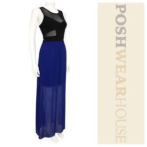Dresses & Skirts - Black & Blue Sheer Fit & Flow Maxi Dress